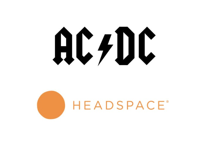 Comparison between Headspace and AC/DC logo